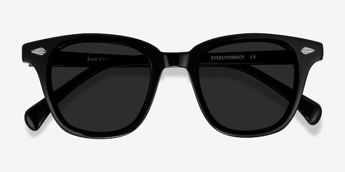Sao Paulo Black Acetate Sunglass Frames from EyeBuyDirect, Closed View