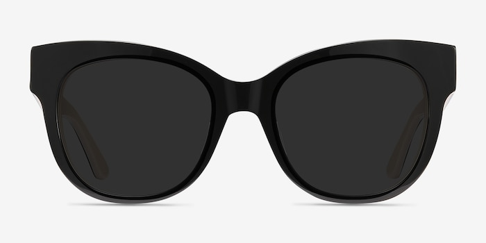 Tahiti Black Acetate Sunglass Frames from EyeBuyDirect, Front View