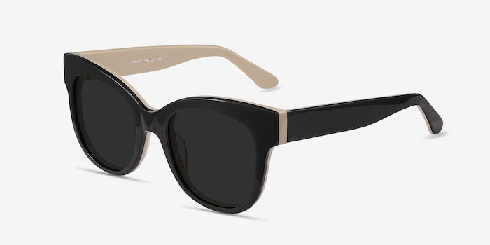 Tahiti Black Acetate Sunglass Frames from EyeBuyDirect, Angle View