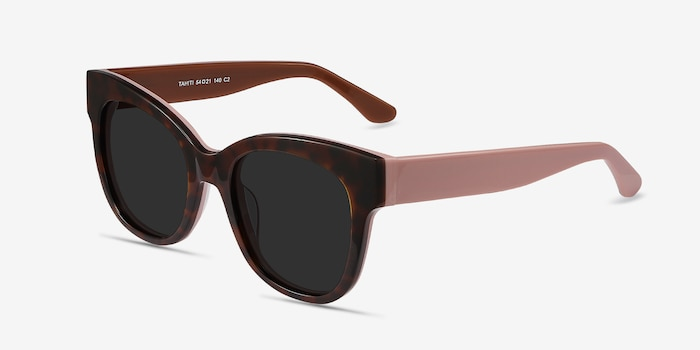 Tahiti Tortoise Acetate Sunglass Frames from EyeBuyDirect, Angle View
