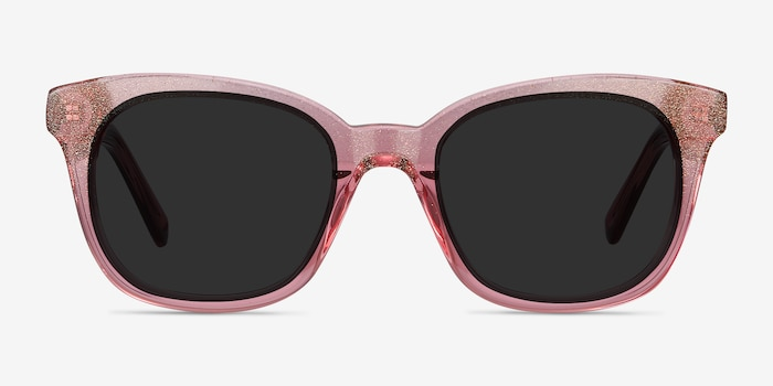 Quartz Pink Acetate Sunglass Frames from EyeBuyDirect, Front View