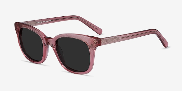 Quartz Pink Acetate Sunglass Frames from EyeBuyDirect, Angle View