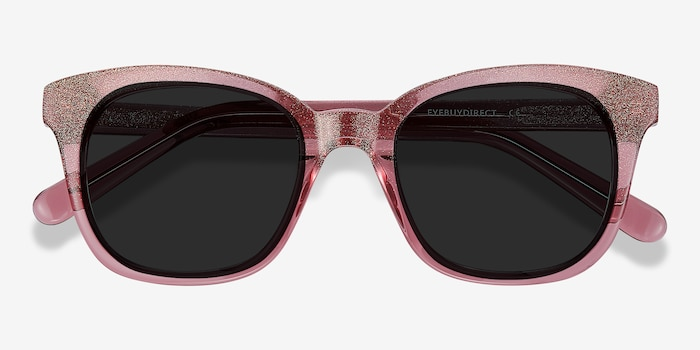 Quartz Pink Acetate Sunglass Frames from EyeBuyDirect, Closed View