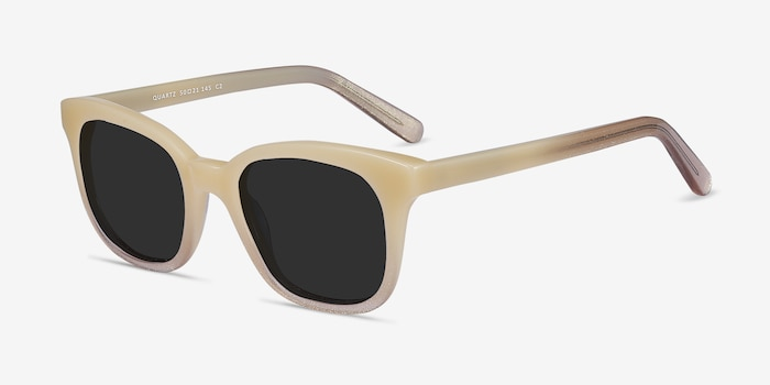 Quartz Ivory Acetate Sunglass Frames from EyeBuyDirect, Angle View