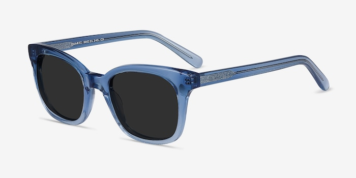 Quartz Blue Acetate Sunglass Frames from EyeBuyDirect, Angle View