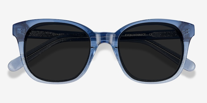 Quartz Blue Acetate Sunglass Frames from EyeBuyDirect, Closed View