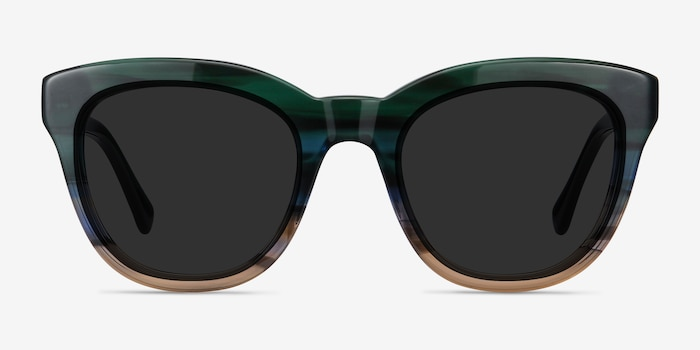 Tropic Green Striped Acetate Sunglass Frames from EyeBuyDirect, Front View