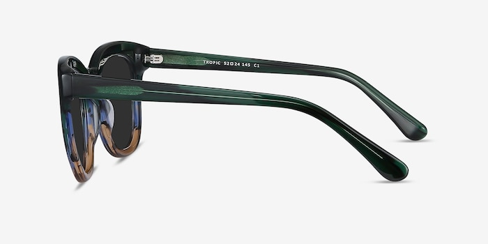 Tropic Green Striped Acetate Sunglass Frames from EyeBuyDirect, Side View