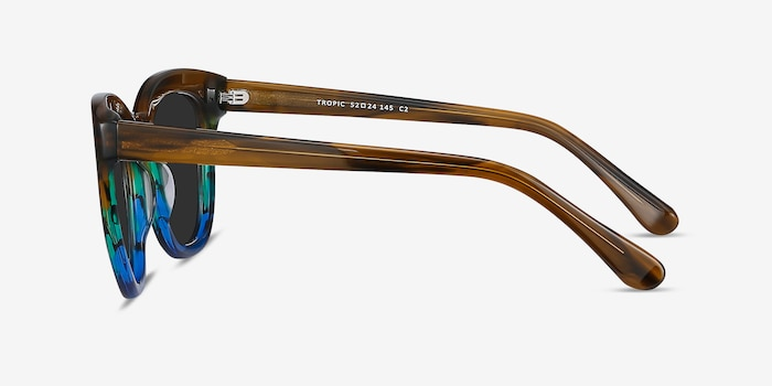Tropic Brown Striped Acetate Sunglass Frames from EyeBuyDirect, Side View