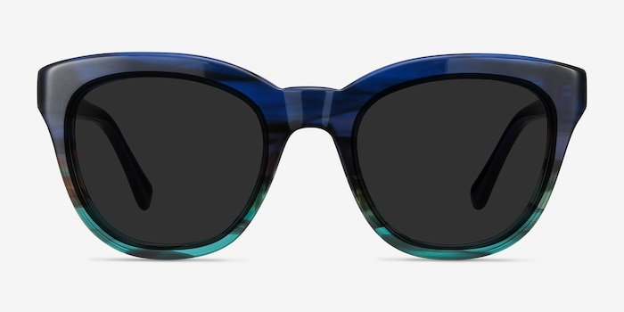 Tropic Blue Striped Acetate Sunglass Frames from EyeBuyDirect, Front View
