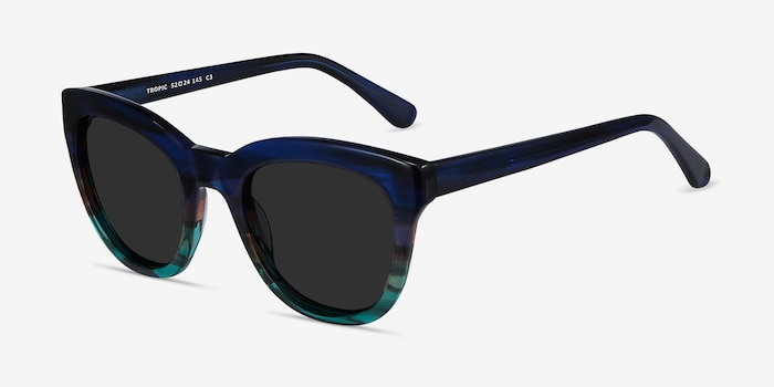 Tropic Blue Striped Acetate Sunglass Frames from EyeBuyDirect, Angle View