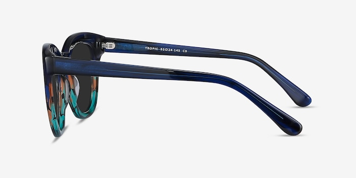 Tropic Blue Striped Acetate Sunglass Frames from EyeBuyDirect, Side View