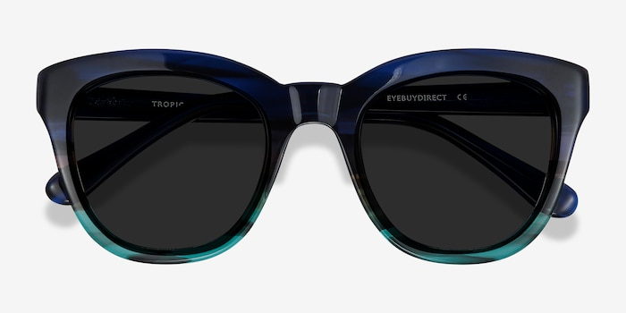 Tropic Blue Striped Acetate Sunglass Frames from EyeBuyDirect, Closed View