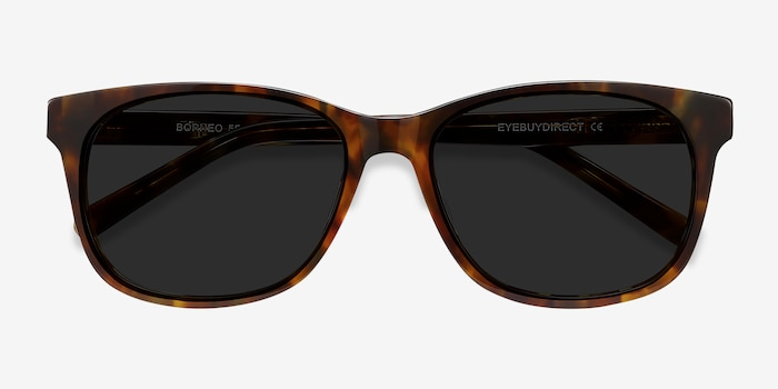 Borneo Tortoise Acetate Sunglass Frames from EyeBuyDirect, Closed View