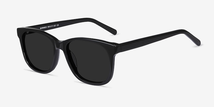 Borneo Black Acetate Sunglass Frames from EyeBuyDirect, Angle View