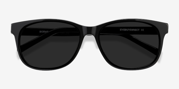 Borneo Black Acetate Sunglass Frames from EyeBuyDirect, Closed View
