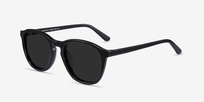 Acapulco Black Acetate Sunglass Frames from EyeBuyDirect, Angle View