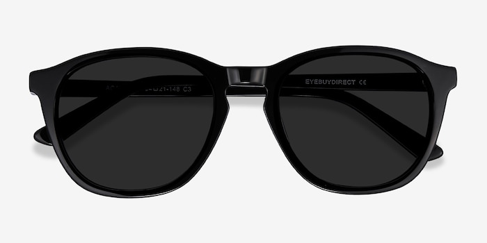 Acapulco Black Acetate Sunglass Frames from EyeBuyDirect, Closed View