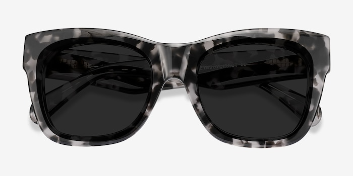 Calico Gray Floral Acetate Sunglass Frames from EyeBuyDirect, Closed View