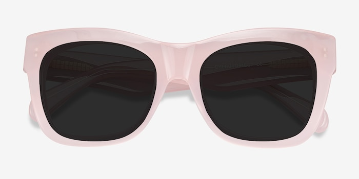 Calico Pink Acetate Sunglass Frames from EyeBuyDirect, Closed View