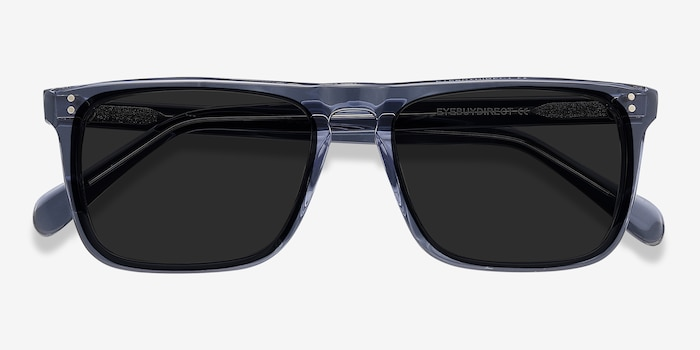 Cantina Blue Acetate Sunglass Frames from EyeBuyDirect, Closed View