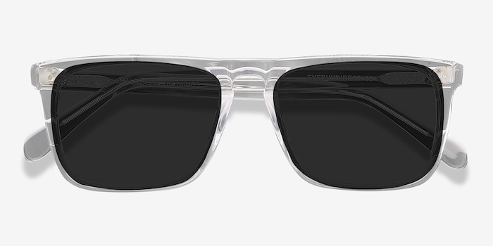 Cantina Clear Acetate Sunglass Frames from EyeBuyDirect, Closed View