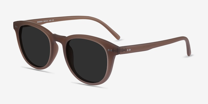 Hidden Brown Plastic Sunglass Frames from EyeBuyDirect, Angle View