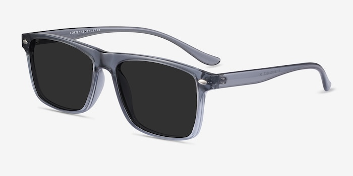 Cortez Gray Plastic Sunglass Frames from EyeBuyDirect, Angle View