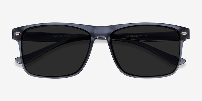 Cortez Gray Plastic Sunglass Frames from EyeBuyDirect, Closed View