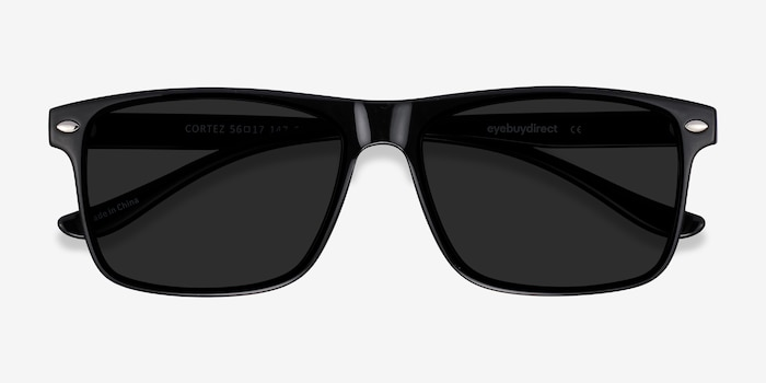 Cortez Black Plastic Sunglass Frames from EyeBuyDirect, Closed View