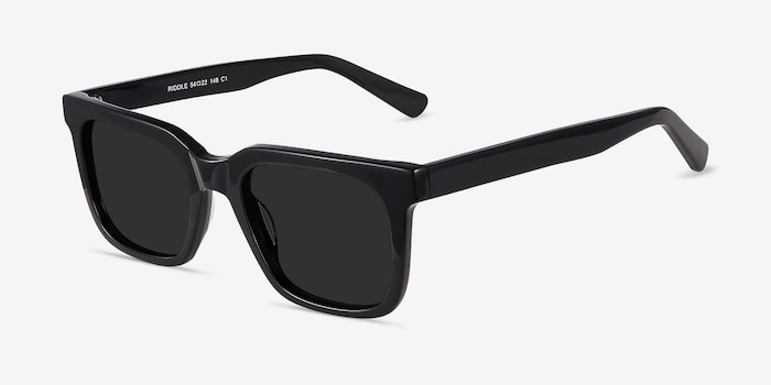 Riddle Black Acetate Sunglass Frames from EyeBuyDirect, Angle View