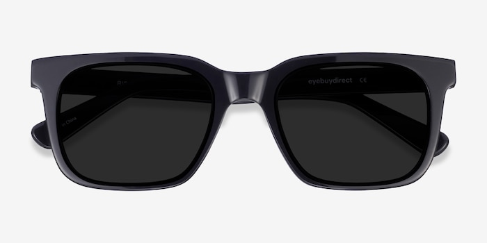 Riddle Black Acetate Sunglass Frames from EyeBuyDirect, Closed View
