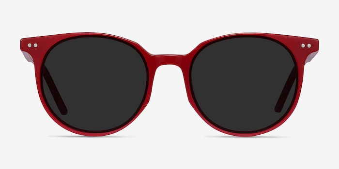 Hideout Red Acetate Sunglass Frames from EyeBuyDirect, Front View