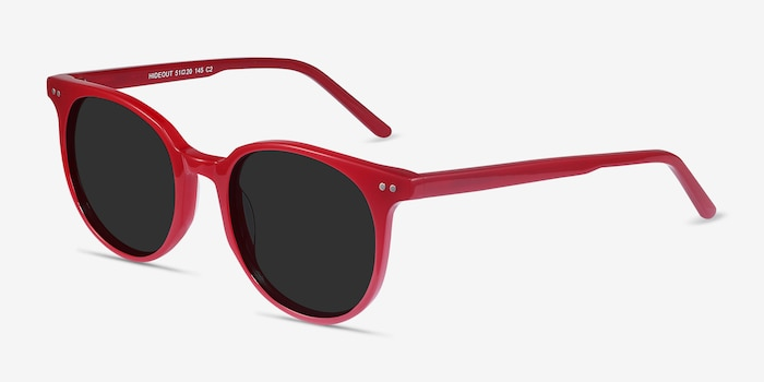 Hideout Red Acetate Sunglass Frames from EyeBuyDirect, Angle View