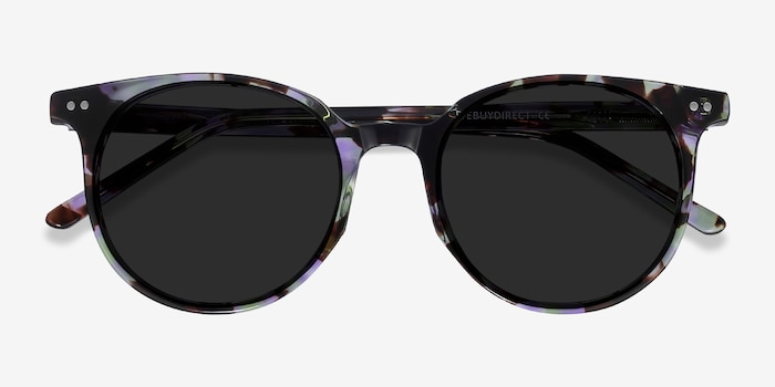 Hideout Purple Tortoise Acetate Sunglass Frames from EyeBuyDirect, Closed View