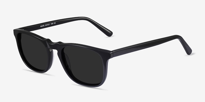 Wave Black Acetate Sunglass Frames from EyeBuyDirect, Angle View