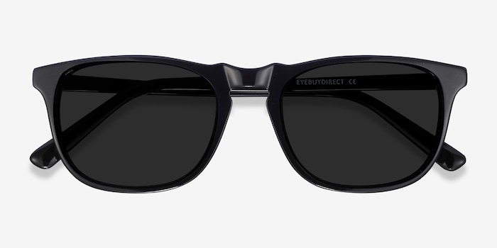 Wave Black Acetate Sunglass Frames from EyeBuyDirect, Closed View