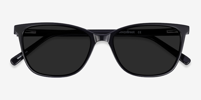 Halle Black Acetate Sunglass Frames from EyeBuyDirect, Closed View