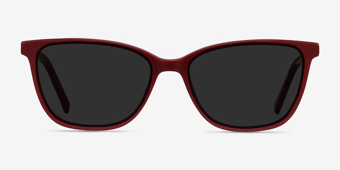 Halle Red Acetate Sunglass Frames from EyeBuyDirect, Front View