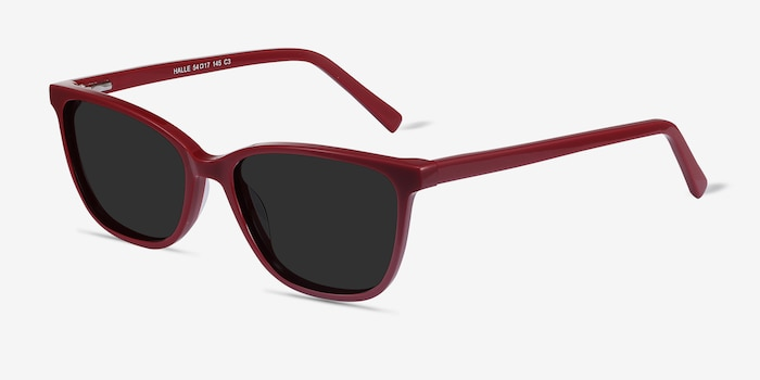 Halle Red Acetate Sunglass Frames from EyeBuyDirect, Angle View
