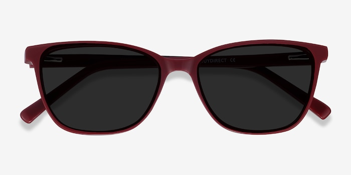 Halle Red Acetate Sunglass Frames from EyeBuyDirect, Closed View