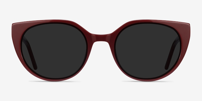 Sun Rhyme Burgundy Acetate Sunglass Frames from EyeBuyDirect, Front View