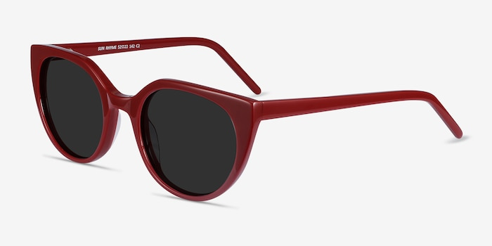 Sun Rhyme Burgundy Acetate Sunglass Frames from EyeBuyDirect, Angle View