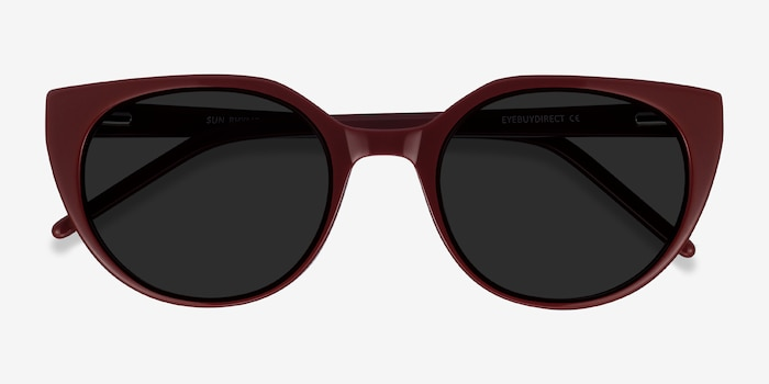 Sun Rhyme Burgundy Acetate Sunglass Frames from EyeBuyDirect, Closed View