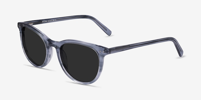 Rhythm Clear Blue Acetate Sunglass Frames from EyeBuyDirect, Angle View