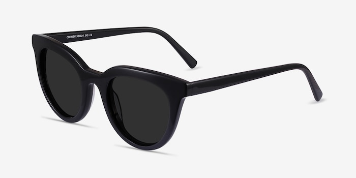 Cherish Black Acetate Sunglass Frames from EyeBuyDirect, Angle View