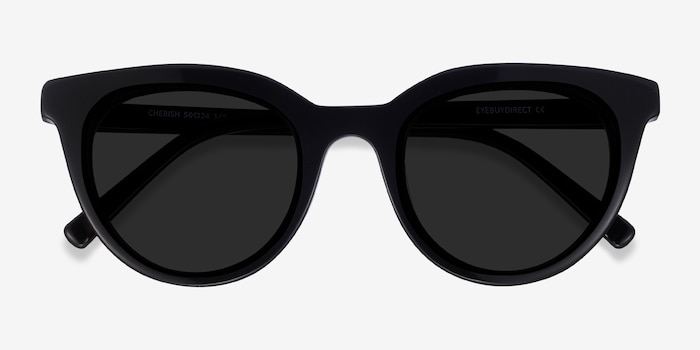 Cherish Black Acetate Sunglass Frames from EyeBuyDirect, Closed View