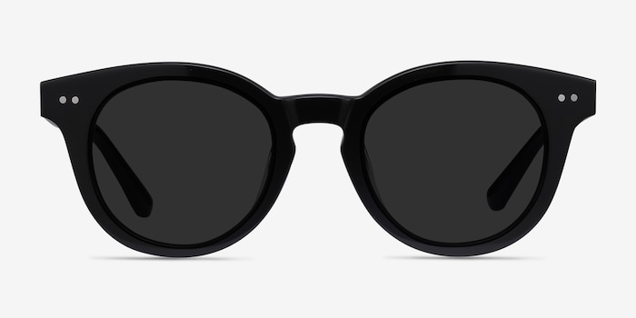 Seine Black Acetate Sunglass Frames from EyeBuyDirect, Front View