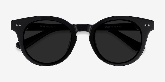 Seine Black Acetate Sunglass Frames from EyeBuyDirect, Closed View
