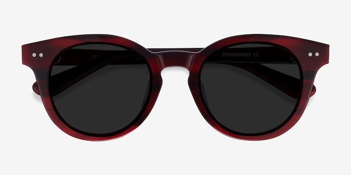 Seine Red Acetate Sunglass Frames from EyeBuyDirect, Closed View